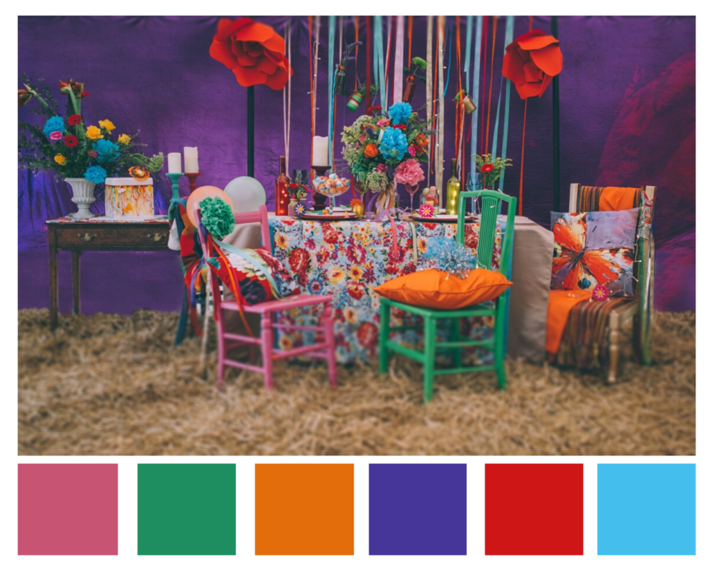A festival themed wedding demands an array of bright and vibrant colours.
