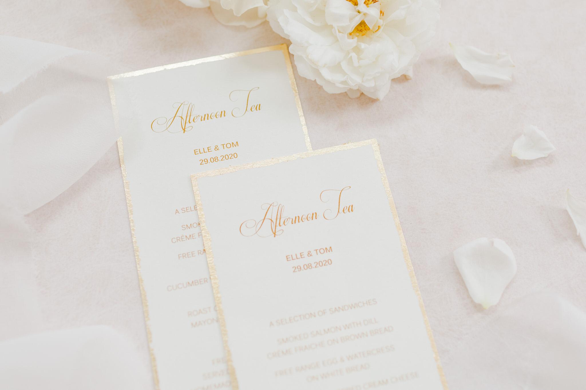 Bespoke menus by Tiggity Boo wedding stationery